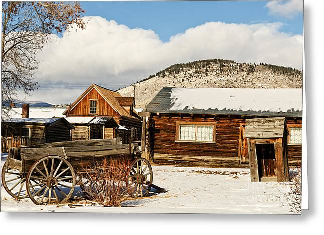 Greeting Card featuring the photograph Old Wagon And Ghost Town Buildings by Sue Smith