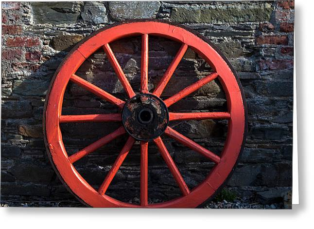 Old Wagon Wheel In Ireland Greeting Card by Panoramic Images