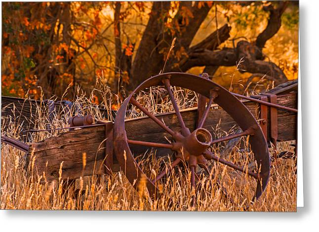 Old Wagon Wheel Greeting Card by Marc Crumpler