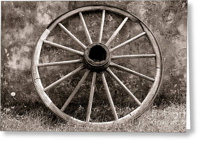 Old Wagon Wheel Greeting Card by Olivier Le Queinec