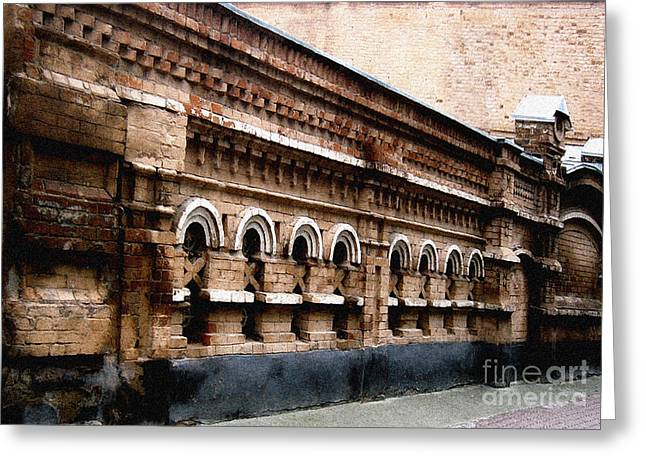 Greeting Card featuring the pyrography Old Wall 2 by Evgeniy Lankin