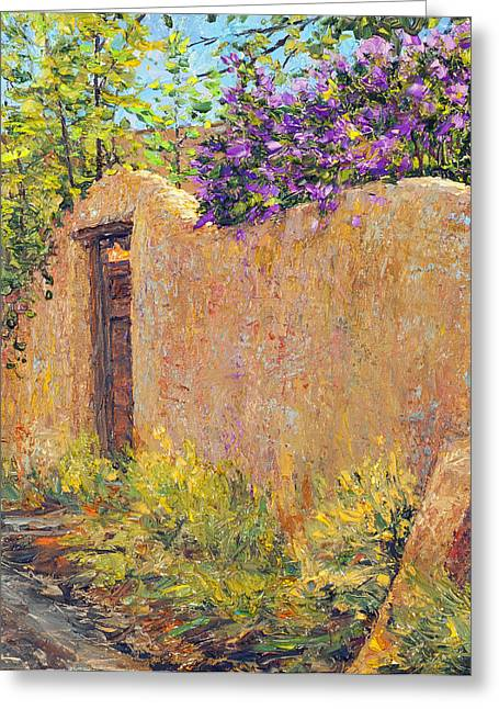 Old Wall And Lilacs Greeting Card by Steven Boone