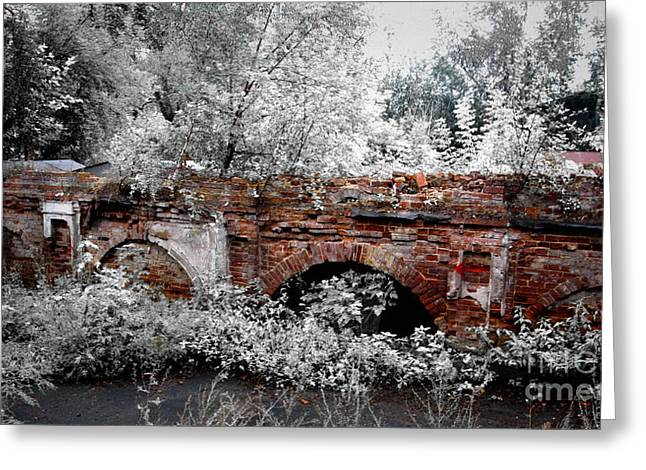 Greeting Card featuring the pyrography Old Wall by Evgeniy Lankin