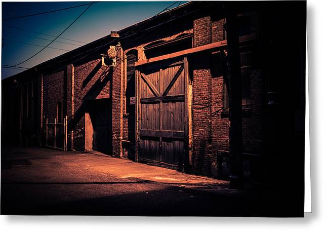 Old Warehouse Building At Night In Georgetown Seattle Greeting Card by Brian Xavier