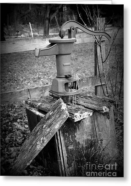 Old Water Pump Bw Greeting Card