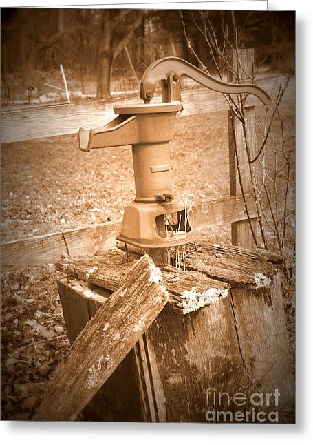 Old Water Pump Sepia Greeting Card