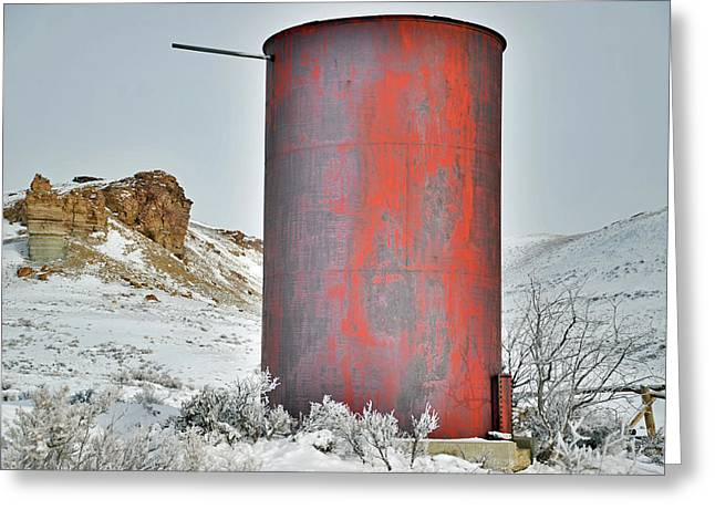 Old Water Tower Greeting Card by Eric Nielsen