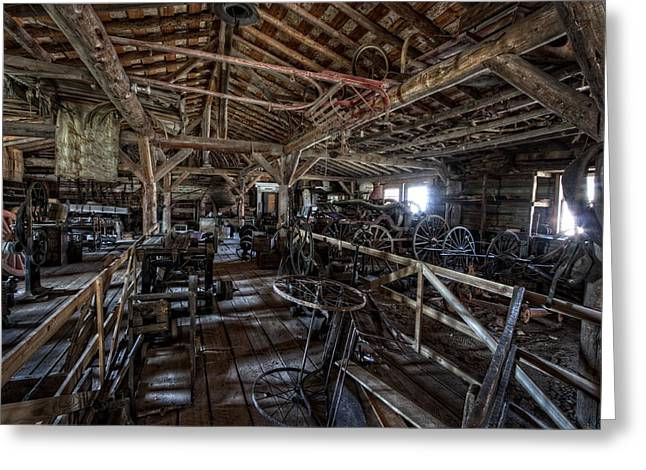 Old West Wagon Storage And Shop Greeting Card by Daniel Hagerman