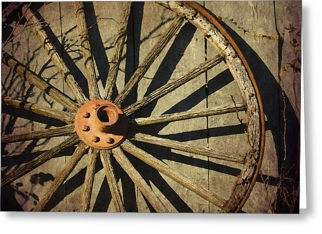 Old West Wagon Wheel Greeting Card by Betty LaRue