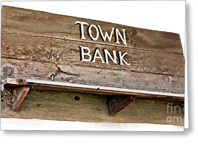 Old Western Town Bank Sign  Greeting Card