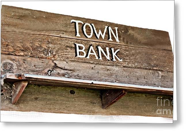 Old Western Town Bank Sign  Greeting Card by Valerie Garner