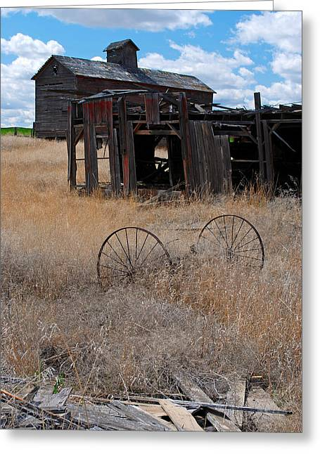 Greeting Card featuring the photograph Old Wheels And Barn by Kjirsten Collier