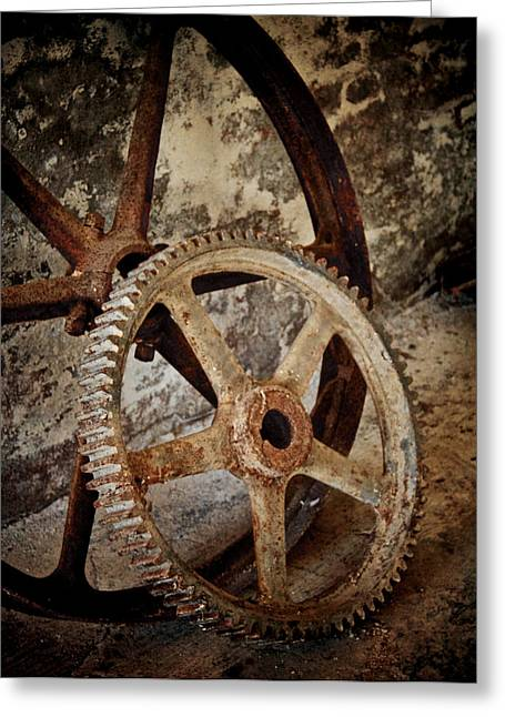 Old Wheels Greeting Card by Odd Jeppesen