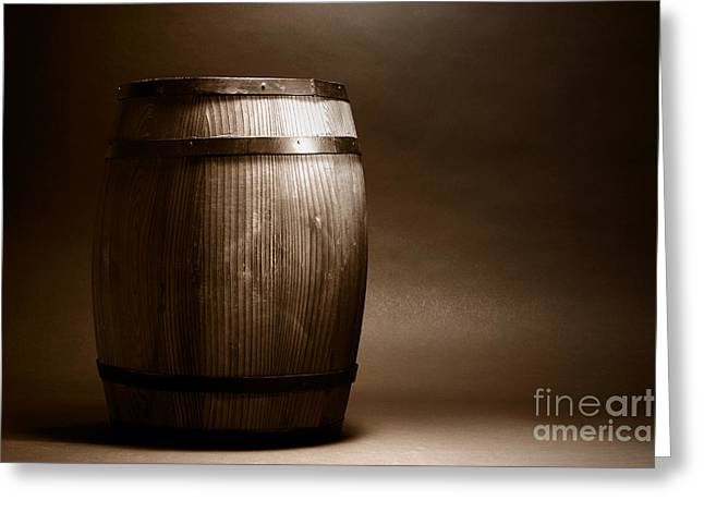Old Whisky Barrel Greeting Card by Olivier Le Queinec