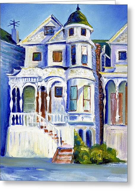 Greeting Card featuring the painting Old White Victorian In Oakland California by Asha Carolyn Young