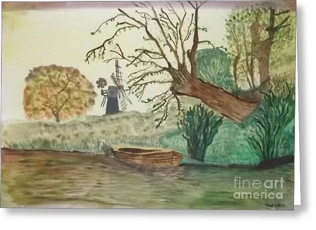 Old Willow And Boat Greeting Card