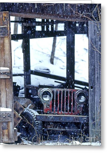 1g25 Old Willys Jeep In Old Barn Greeting Card