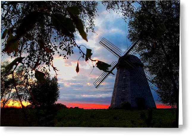 Old Windmill In The Evening Greeting Card by Juozas Mazonas