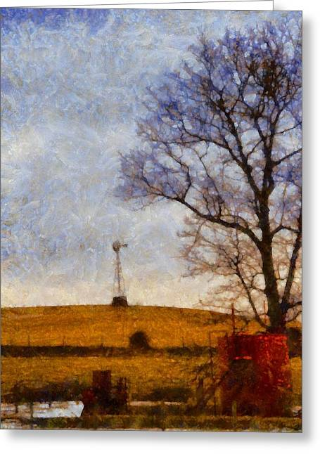 Old Windmill On The Farm Greeting Card by Dan Sproul