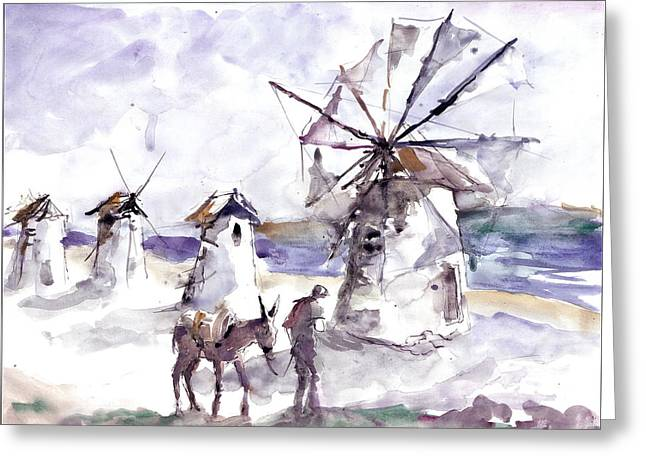 Old Windmills At Bodrum Greeting Card
