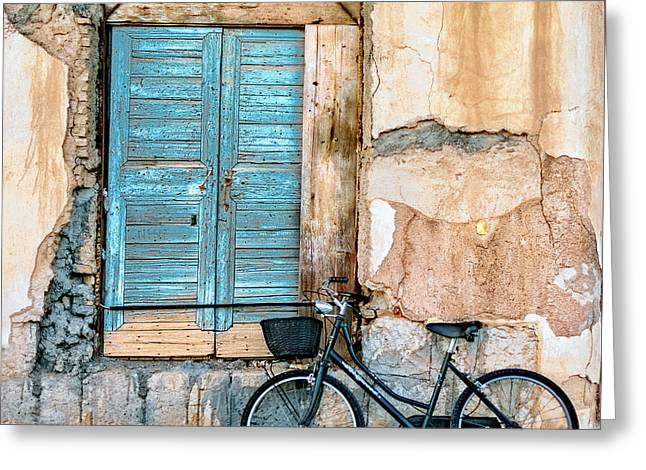 Old Window And Bicycle Greeting Card