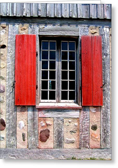 Greeting Card featuring the photograph Old Window Fort Michilimackinac Michigan by Mary Bedy