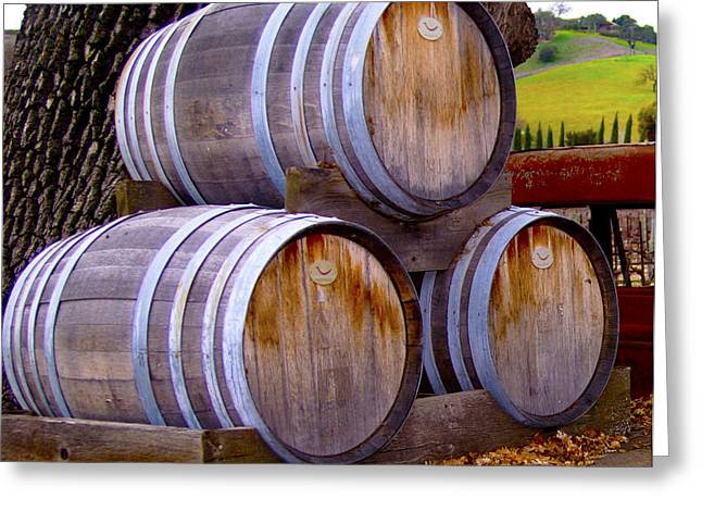 Old Wine Barrels On An Older Truck Greeting Card