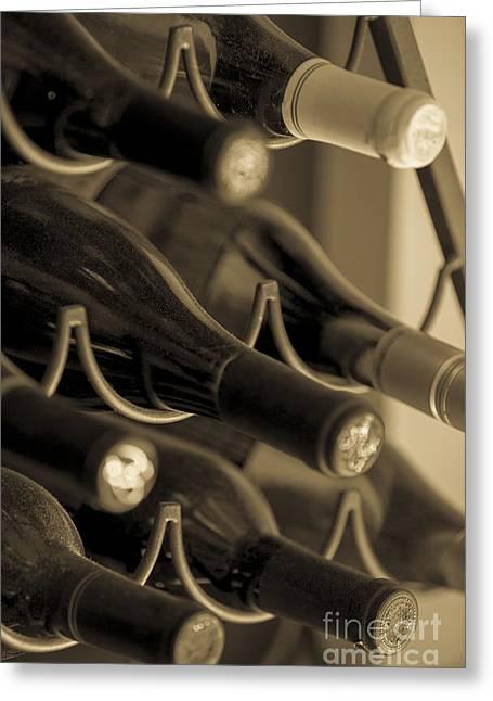 Old Wine Bottles Greeting Card by Diane Diederich