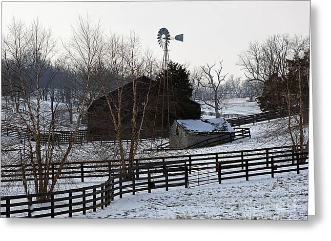 Old Winter Farm Greeting Card