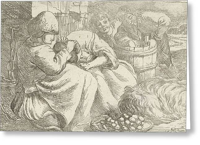 Old Woman Delouses A Girl, Jan Van Ossenbeeck Greeting Card