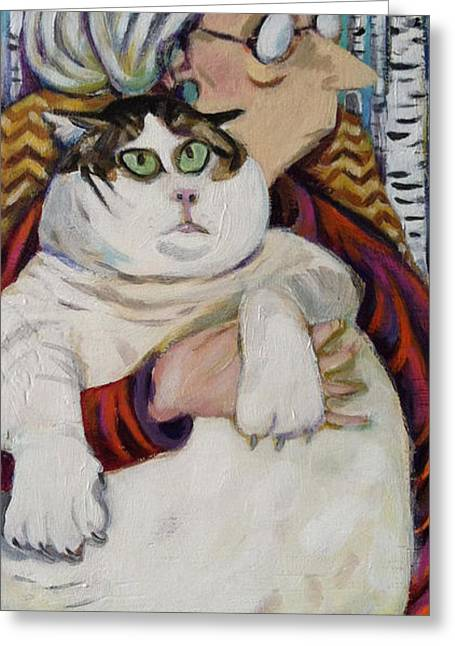 Old Woman Fat Cat Greeting Card by Melissa Bollen