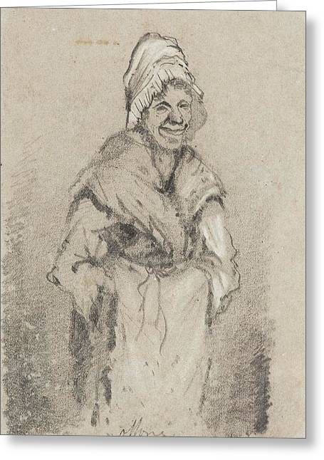 Old Woman From Normandy Full Face Pencil On Paper Greeting Card