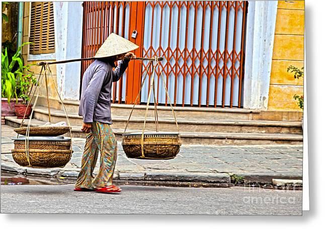 Old Woman In Hoi An Vietnam Greeting Card by Fototrav Print