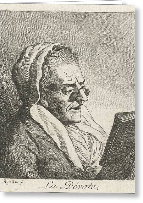 Old Woman Reading With Eyeglasses, Print Maker Theodorus De Greeting Card