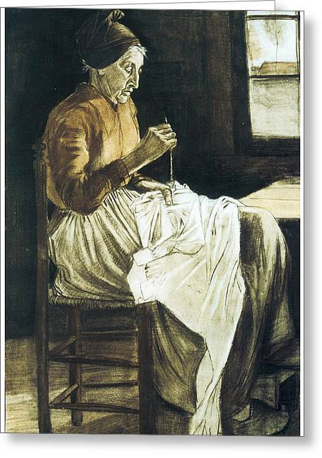 Old Woman Sewing Greeting Card by Vincent van Gogh