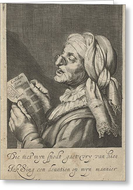 Old Woman Sings, Cornelis Van Dalen I, Gerard Van Honthorst Greeting Card by Cornelis Van Dalen (i) And Gerard Van Honthorst And I. Houwens