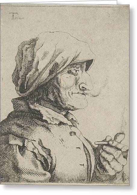 Old Woman Smokes A Pipe, Possibly Jan Lauwryn Krafft Greeting Card