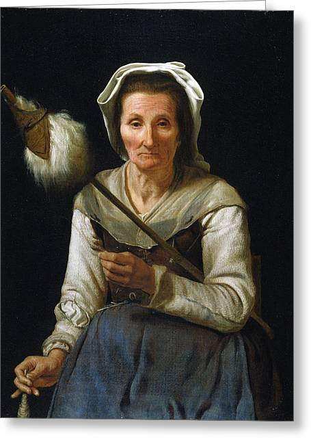 Old Woman Spinning, 1646-48 Greeting Card by Michael Sweerts