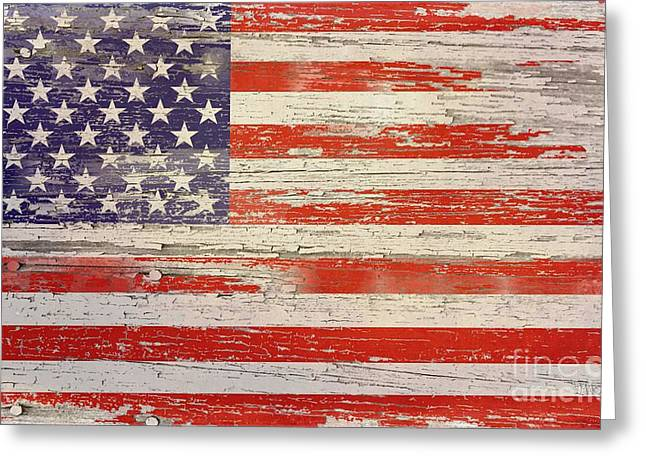 Old Wood American Glory Greeting Card by Sharon Marcella Marston