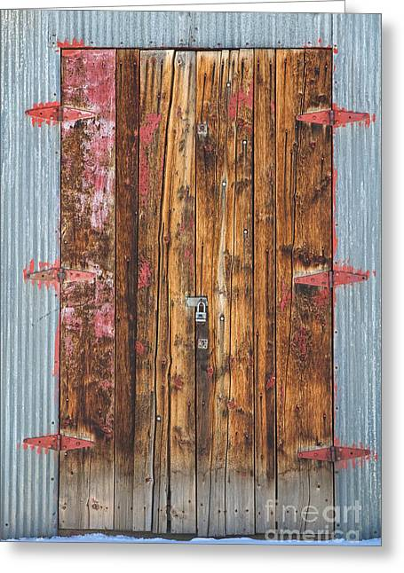 Old Wood Door With Six Red Hinges Greeting Card by James BO  Insogna