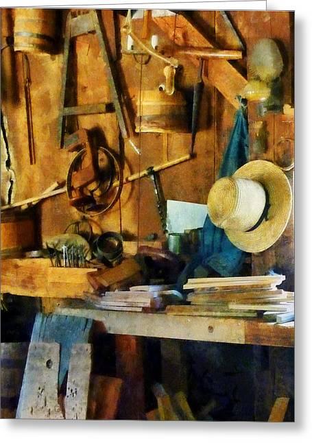 Old Wood Shop Greeting Card by Susan Savad