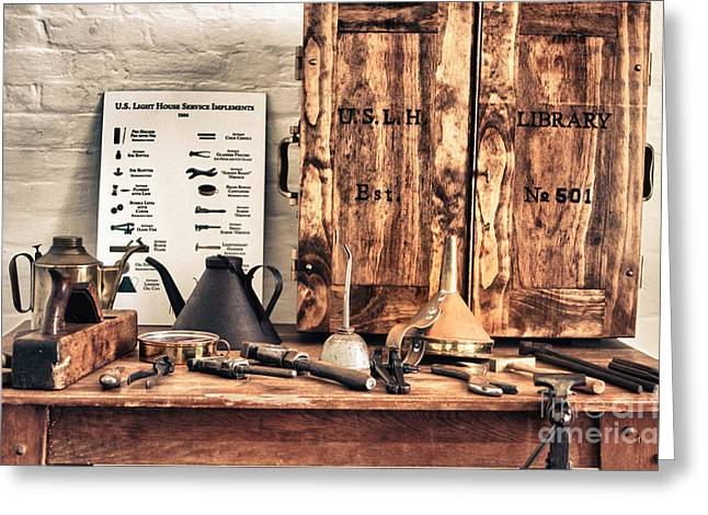 Old  Wood Workbench Greeting Card