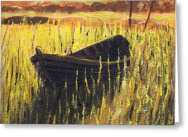 Old Wooden Boat In The Reeds  Greeting Card