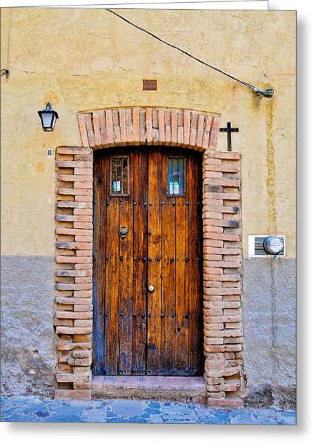 Old Wooden Door - Mexico - Photograph By David Perry Lawrence Greeting Card