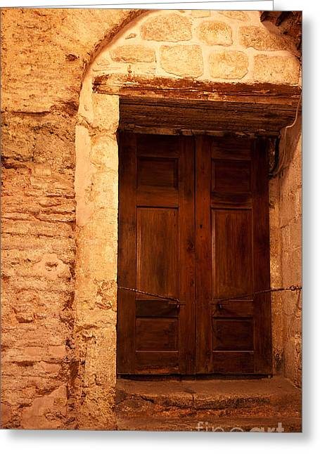 Old Wooden Doors Greeting Card by Rick Piper Photography