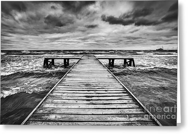 Old Wooden Jetty During Storm On The Sea Greeting Card
