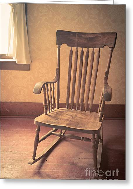 Old Wooden Rocking Chair Greeting Card by Edward Fielding