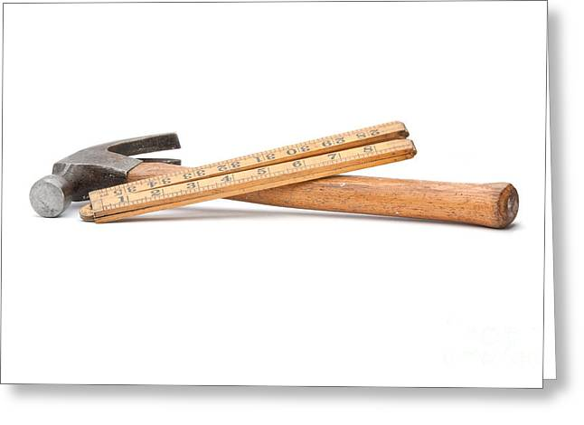 Old Wooden Rule And Hammer. Greeting Card by Stephen Baker