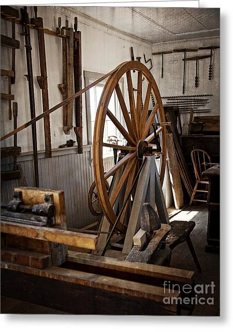 Old Wooden Treadle Lathe And Tools Greeting Card