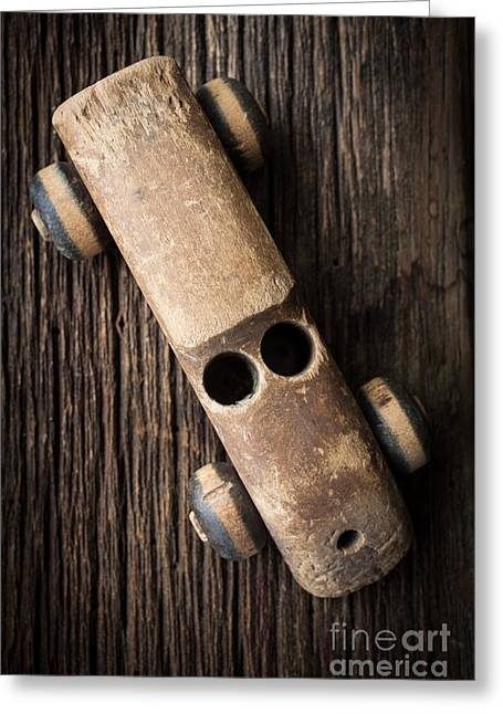 Old Wooden Vintage Toy Car Greeting Card